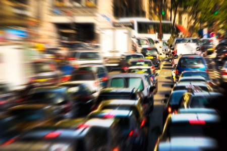 Photo for Traffic jam. Zoom blur effect. - Royalty Free Image