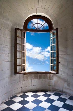 Old wide open window in castle