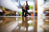 Walking in modern business center