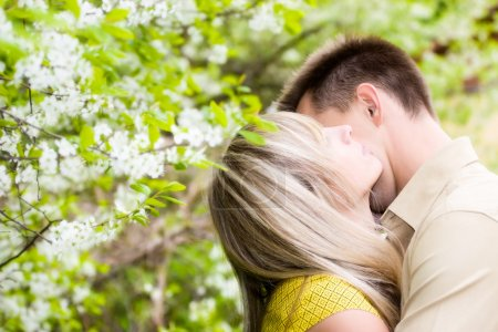 Couple in cherry tree flowers