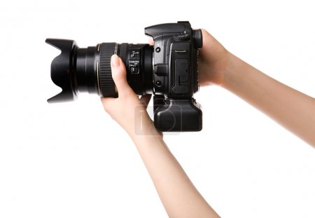 Woman with professional photo camera