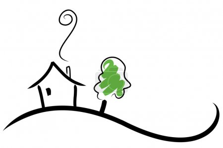 Illustration for Simple illustration of a house on a hill - Royalty Free Image