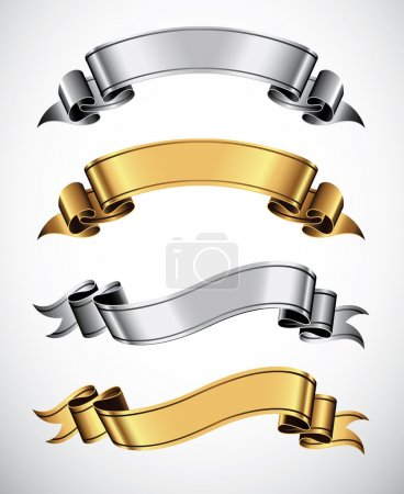 Photo for Set of gold and silver vector ribbons for your text - Royalty Free Image
