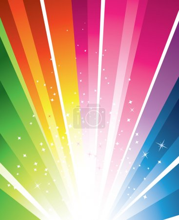 Illustration for A colourful design with a burst and stars - Royalty Free Image