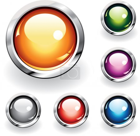 Illustration for Collection of six glossy buttons in various colors - Royalty Free Image