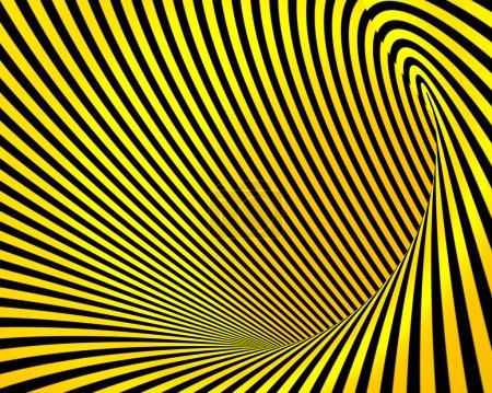 Photo pour Résumé jaune noir créatif techno tunnel fond - image libre de droit
