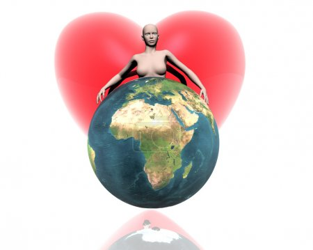 3D world Africa with girl and heart