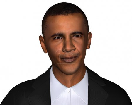 Barack Obama 3d model isolated on a white