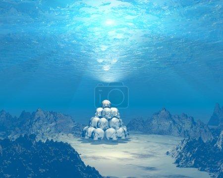 Photo pour Crânes 3D sous-marins avec faisceaux lumineux - image libre de droit