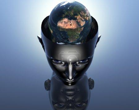 Photo pour 3D terre en 3D cyborg fille tête - image libre de droit