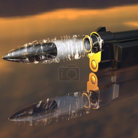 Photo pour Pistolet avec balle volante sur fond sombre - image libre de droit