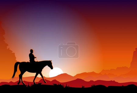 Cowboy in the sunset