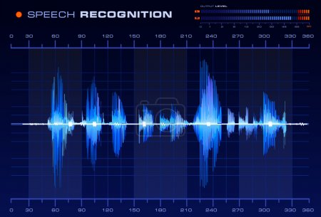 Photo for Speech recognition signal on blue background, Blue Spectrum Analyzer vector - Royalty Free Image