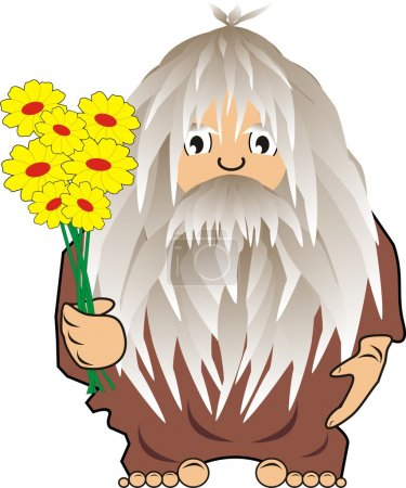 Illustration for Funny cave person savage with flowers  cartoon, vector, illustration - Royalty Free Image