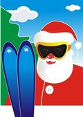 Vector illustration: the skier in a suit of Santa Klausa in ski sun glasses and with skis against the blue sky with clouds and a fur-tree