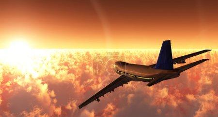 Photo pour Scène de l'avion en vol, exécuté en 3 D - image libre de droit