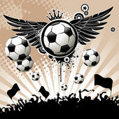 Football background with the balls wings and stars