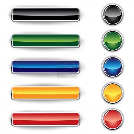 Illustration pour Ensemble de boutons en verre sur fond blanc - image libre de droit