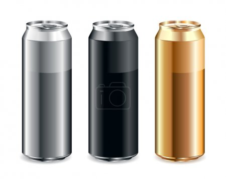 Illustration for Just set of realistic cans - Royalty Free Image
