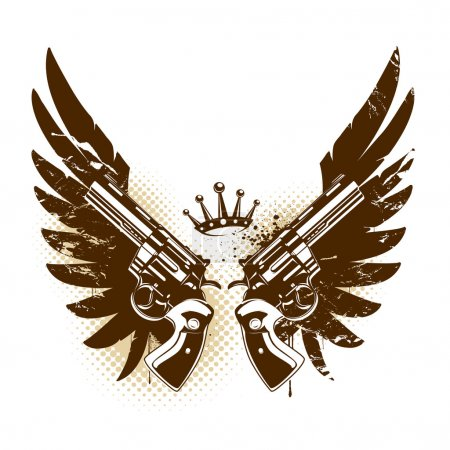 Illustration pour Image abstraite de rock-n-roll avec deux revolvers et ailes - image libre de droit