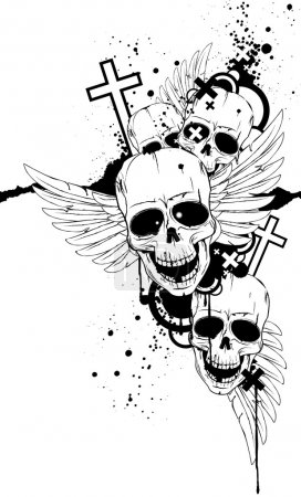Black-and-white image with skulls