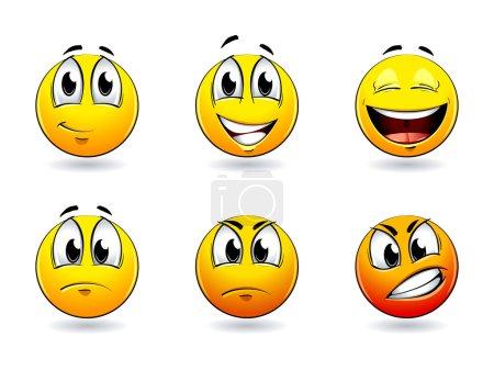 Illustration for Set of pretty smiles-balls. Vector illustration. - Royalty Free Image
