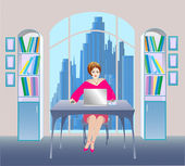 Illustration of businesswoman in a office