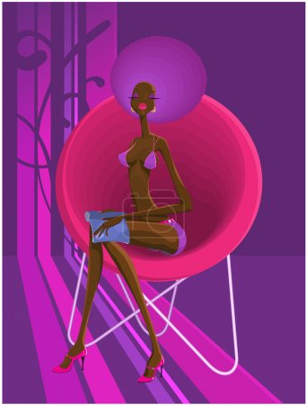Photo for Stylish a disco-girl sitting in an armchair. - Royalty Free Image
