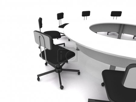 Foto de Sillas de oficina en blanco. Render 3D - Imagen libre de derechos