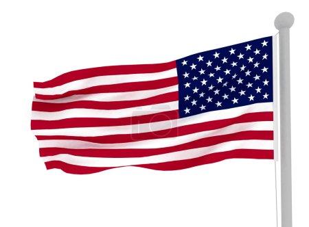3D American flag on white