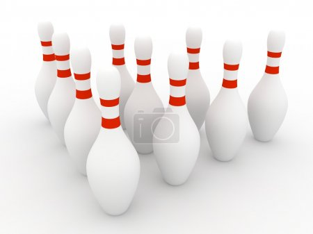 Bowling Pins on white background