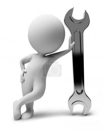 Photo for 3d small with a wrench. 3d image. Isolated white background. - Royalty Free Image