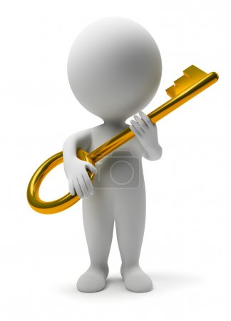 Photo for 3d small with a gold key. 3d image. Isolated white background. - Royalty Free Image