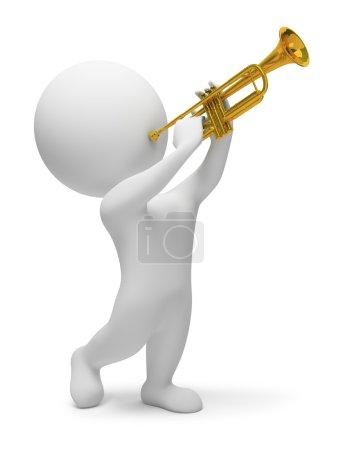 Photo pour Jeux 3D avec trompette. image 3D. fond blanc isolé. - image libre de droit