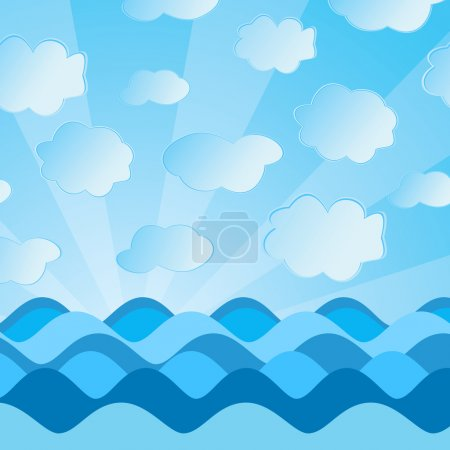 The vector image of sea waves