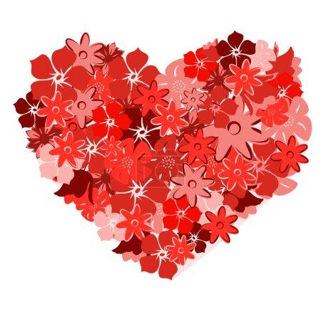 Illustration pour Coeur floral. Illustration vectorielle - image libre de droit