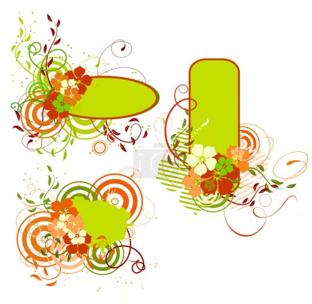 Green and orange banner with flowers