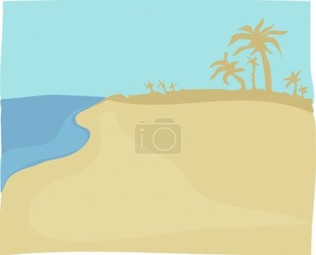Illustration for A beach under an evening sun - Royalty Free Image