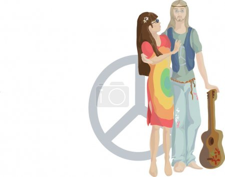 Illustration for Pair of young spectacled and with a guitar - Royalty Free Image