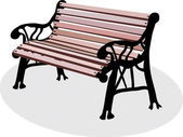 A bench is in a park