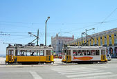 Typical yellow trams in Lisbon, Portugal