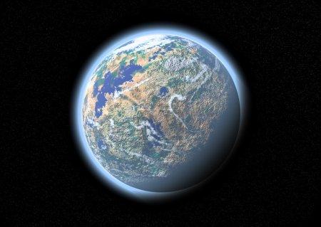 Photo pour Planète bleue dans l'espace avec de petites étoiles scintillantes - image libre de droit
