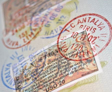 Passport with turkish visas and stamps