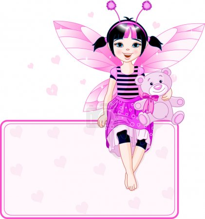 Illustration for Little cute fairy sitting on place card. All objects are separate groups - Royalty Free Image