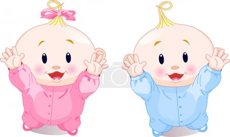 Illustration for Vector illustration of lovely twins with hands up - Royalty Free Image