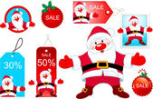 Vector Christmas design elements with Santa Claus opening hug
