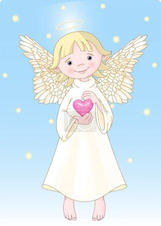 Illustration pour Ange mignon avec un coeur dans les mains. tous les niveaux sont séparés. - image libre de droit