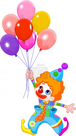 Illustration for The clown fly with balloons. Vector illustration - Royalty Free Image