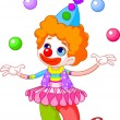 Cute funny clown juggling. Vector illustration...