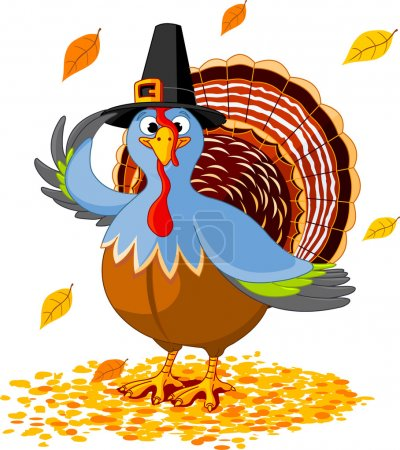 Illustration for Illustration of a Thanksgiving turkey with pilgrim hat - Royalty Free Image